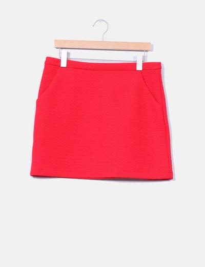 Mini-jupe rouge texturé Promod