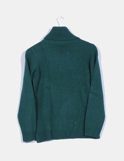Jersey de punto verde botella con cuello vuellto