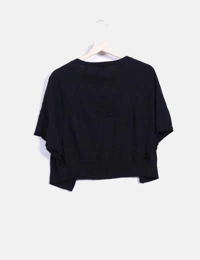 Chaqueta tricot negro manga corta