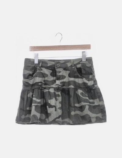Minifalda estampado militar