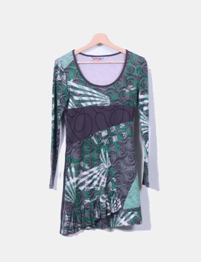 Vestido estampado verde y gris Smash