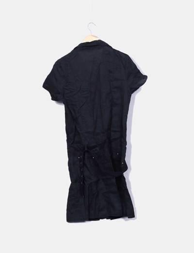 Vestido lino negro con cinturon