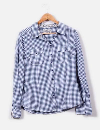 Camisa de cuadros blancos y azules Tex Woman