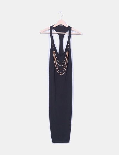 Vestido fluido negro cadenas doradas  Asos