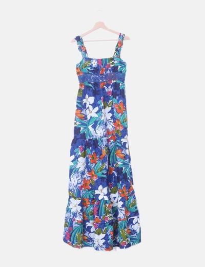 Maxi vestido print multicolor de tirantes
