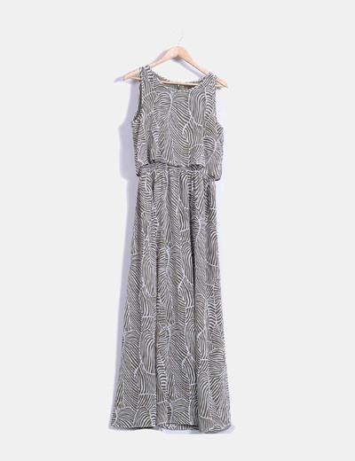 Vestido largo con estampado bicolor Cortefiel