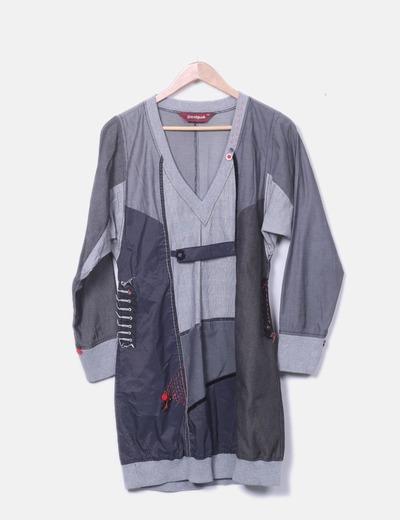 Vestido combinado con detalle botón en el pecho Desigual