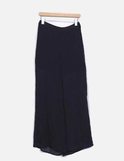 Pantalón fluido negro semitransparente Suiteblanco