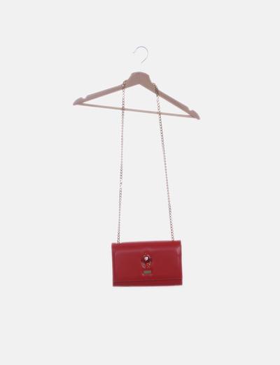 Bolso mini rojo con strass