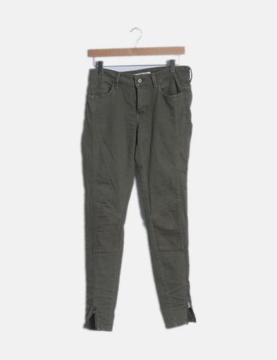 Pantalón pitillo con cremalleras verde