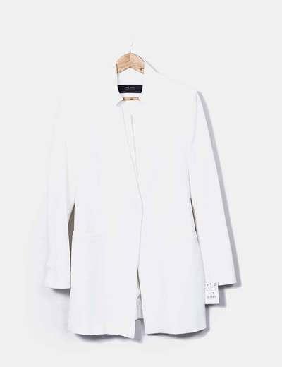 11aac31ae8f98 Zara Blazer blanc à long (réduction 73%) - Micolet