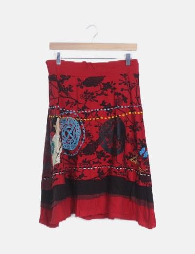 Falda roja estampado multicolor