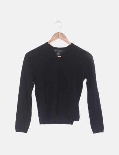 Jersey de punto negro escote en pico
