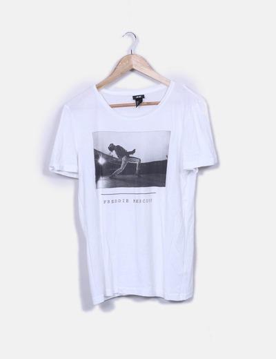 4ffd034273851 H M Camiseta blanca print