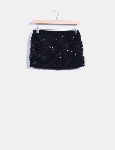 Falda mini negra pailettes texturizada Made in Italy