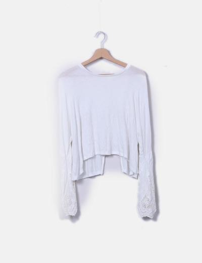 T-shirt blanc à manches Mango