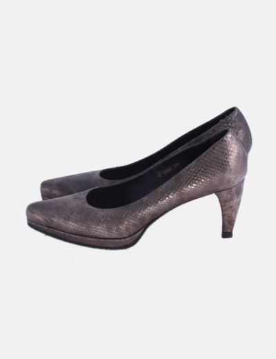 Zapato efecto serpiente metalizado