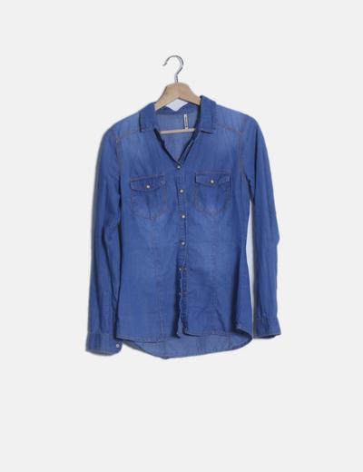Camisa denim azul manga larga