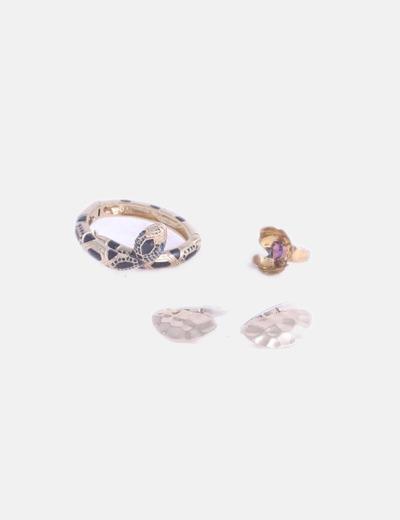 Conjunto de pendientes anillo y pulsera gold