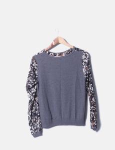 016fe4525dd00 Camiseta combinada tricot y gasa print Zara