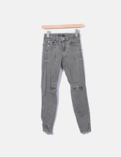 Jeans verdes ripped con cremalleras