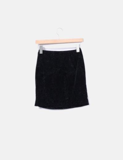 f87ab4ad5ecf6 Trucco Falda negra terciopelo texturizada (descuento 88%) - Micolet