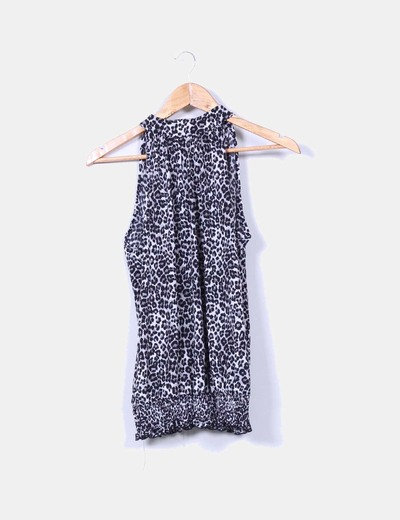 Blusa animal print cuello halter Suiteblanco