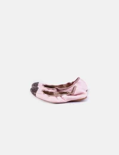 Bailarina fruncida rosa punta glitter