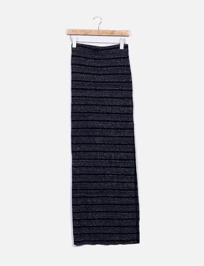 Maxi falda punto rayas Bershka