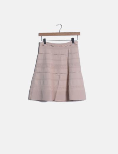 Mini falda evasé tricot nude