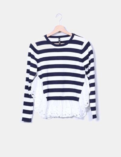 Jersey tricot navy combinado peplum Golden Days Paris