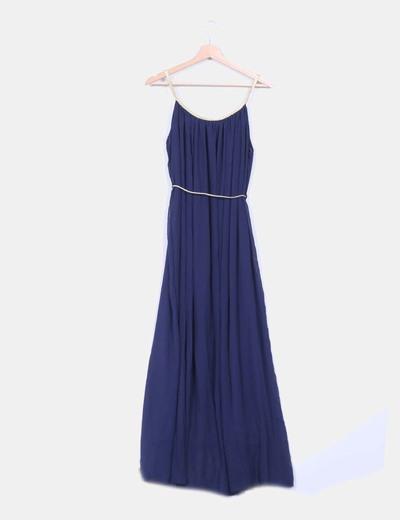 Maxi vestido azul marino detalle dorado