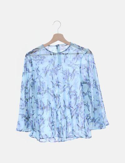 Blusa azul estampado floral