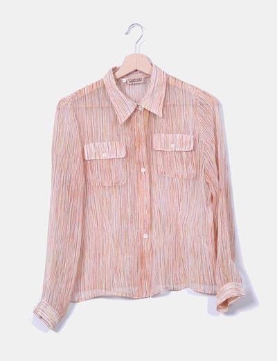 Camisa semitransparente con rayas  NoName