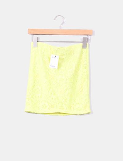 Mini falda puntilla amarilla Suiteblanco