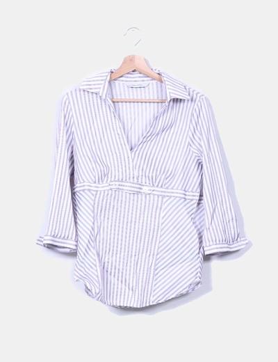 Camisa escote en pico a rayas moradas y blancas Zara