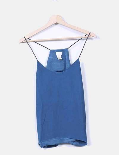 Blusa azul petróleo tirantes polipiel H&M