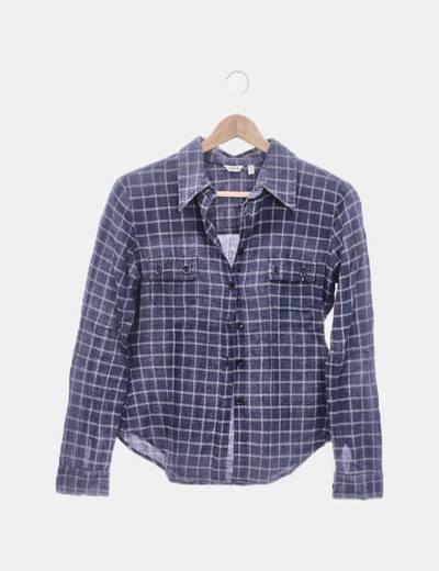 Camisa azul marina de cuadros
