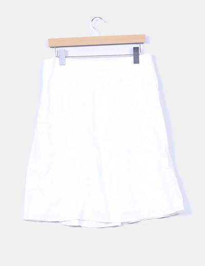 Falda midi beige con cinturon