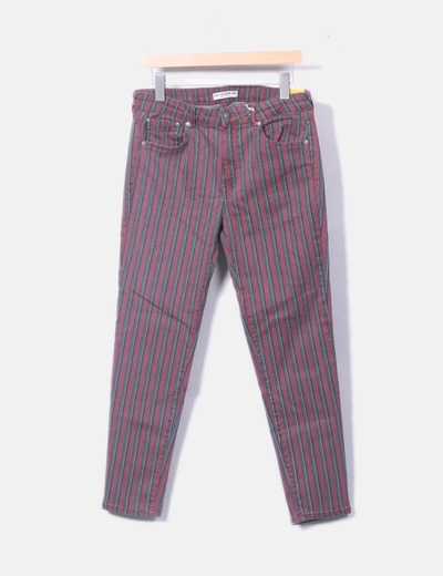 Pantalón denim con rayas verticales