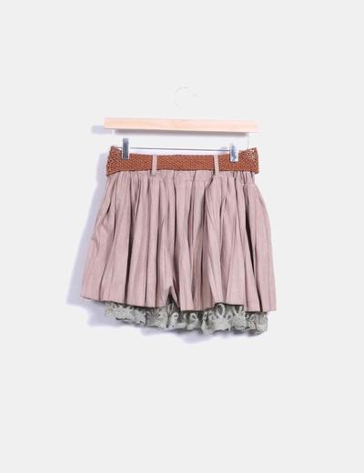 Falda combinada de ante marron con cinturon