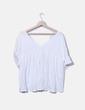 Top blanco oversize con flecos Zara