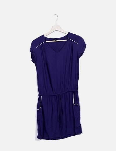Vestido midi azul Tex