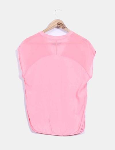 Blusa manga corta rosa