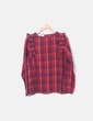 Blusa roja de cuadros con volantes Promod