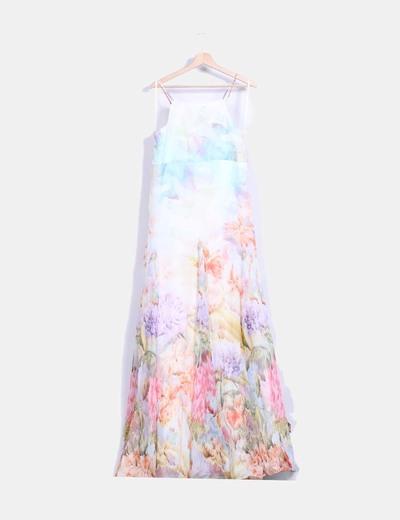 Vestido seda maxi floral evasé David Christian Madrid