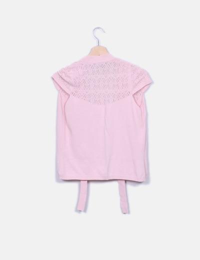 Chaleco tricot rosa combinado