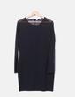 Vestido ceñido negro mangas de malla NoName
