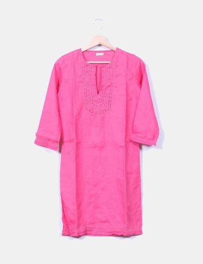 Kaftán rosa con bordados In Extenso