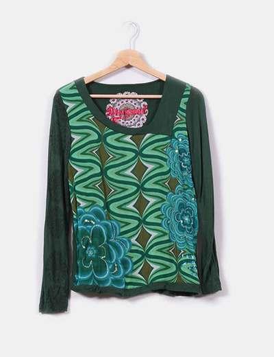 Camiseta verde floral Desigual